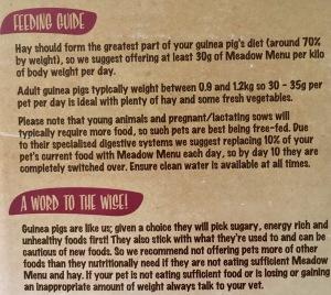 Meadow Menu Feeding Advice