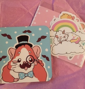 Guineapig Wheekly stickers and Coaster